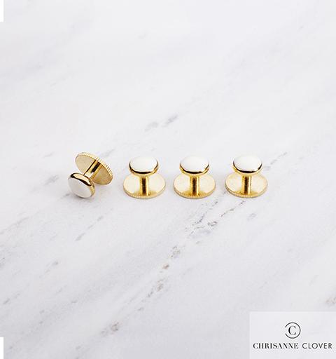 Пуговицы для фрачной рубашки Chrisanne (белые в золоте)