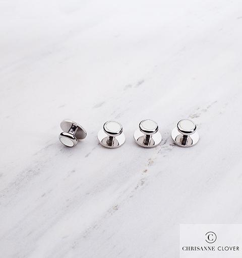 Пуговицы для фрачной рубашки Chrisanne (белые в серебре)